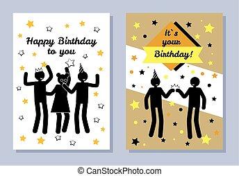 vous, fête, couleur, deux, anniversaire, bannières, heureux