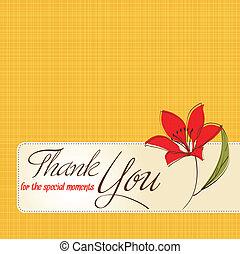vous, fleur, remercier, carte, salutation