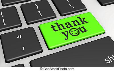vous, heureux, remercier, message, clavier