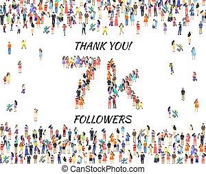 vous, ligne, heureux, disciples, vecteur, 7k, célébrer, remercier, peuples, groupe, bannière, social