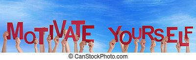 vous-même, motiver, ciel, tenant mains