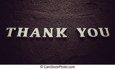 vous, noir, remercier, mot, fond, lettres, bois