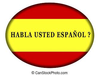 -, parole, espagnol, vous, bulle, parler. Spanish?, isolé ...