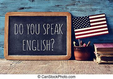 vous, parler, question, tableau, english?