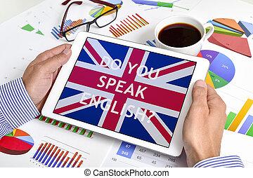 vous, parler, question, tablette, english?