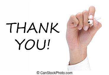 vous, remercier, écriture