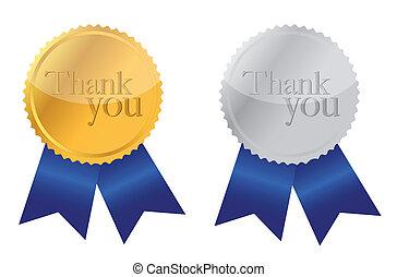 vous, remercier, récompense, médailles
