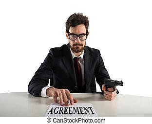 vous, signe, accord, forces, patron
