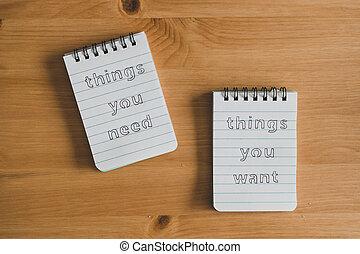 vous, titres, vs, besoin, bureau, vouloir, prêt, bloc-notes...