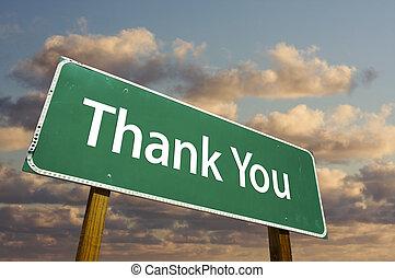 vous, vert, remercier, panneaux signalisations