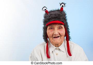 vovó, em, chapéu engraçado