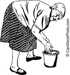 vovó, lavagens, seu, mãos, em, um, balde