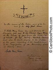 Vows of Mother Teresa written in her hand exposed in ...
