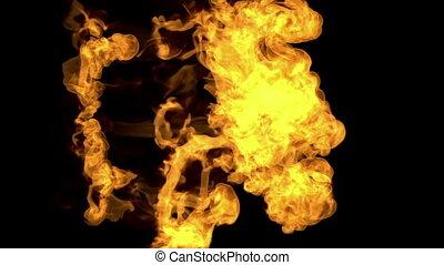 voxel, aimer, brûler, render., enduisage, encre, simulation, eau, arrière-plan., 3, informatique, noir, graphiques, graphics., 3d