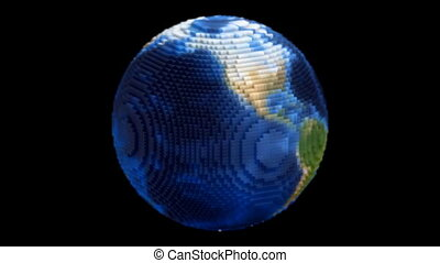 Voxel Planet Earth Globe Spin Loop - A loop of a spinning...