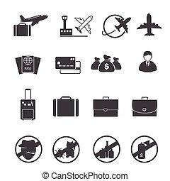 voyage, aérez transport, icônes