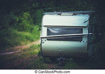 voyage, abandonnés, caravane