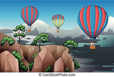 voyage, air, balloon, chaud
