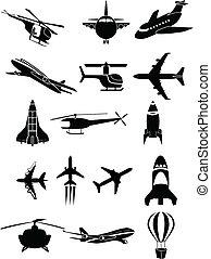 voyage, air, icônes