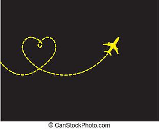 voyage, amour, concept