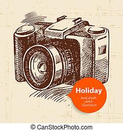 voyage, appareil-photo., illustration, fond, vacances, croquis, vendange, main, dessiné