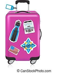voyage, autocollants, rouges, valise