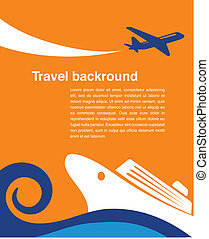 voyage, -, avion, fond, croisière