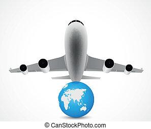 voyage, avion, mondiale, voler