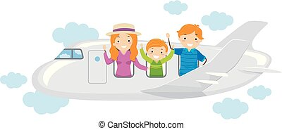voyage, avion, stickman, famille, illustration