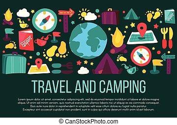 voyage, bannière, copyspace, camping