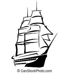voyage, bateau, mer