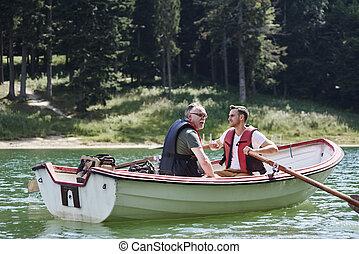 voyage, bateau rames, hommes, peche, pendant