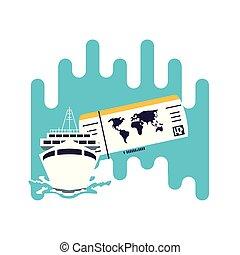 voyage, billet, bateau, bateau, croisière