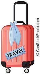 voyage, blanc rouge, fond, bagage