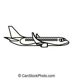 voyage, côté, international, ligne, avion, transport