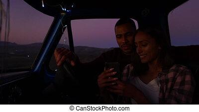 voyage, camion, couple, leur, pick-up, route, jeune