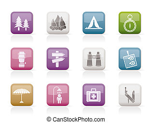 voyage, camping, tourisme, icônes