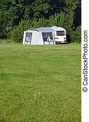 voyage, caravane, sur, camping