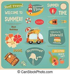 voyage, carte, été