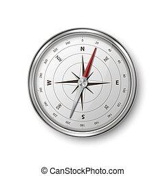 voyage, closeup, métal, illustration, arrière-plan., ou, icône, navigation, blanc, vieux, acier, windrose, 3d, isolé, réaliste, vecteur, stockage, conception, template., concept., antiquité, vendange, compas, argent