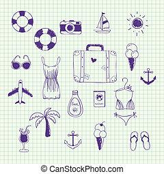 voyage, collection, main, thème, vecteur, dessiné