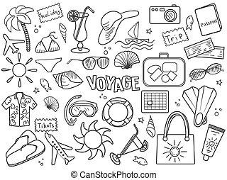 Voyage colorless set vector - Voyage design colorless set...