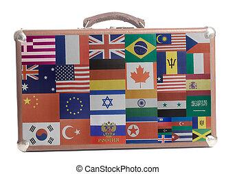 voyage commercial, valise, à, drapeaux, tout, pays, de, mondiale