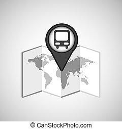 voyage, concept, emplacement, carte, autobus, conception, graphique