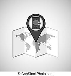 voyage, concept, emplacement, carte, passeport, conception, graphique