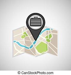 voyage, concept, emplacement, carte, portefeuille, conception, graphique