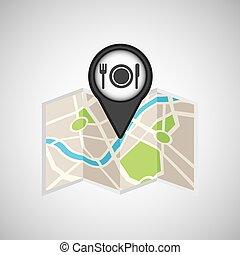 voyage, concept, emplacement, carte, restaurant, conception, graphique