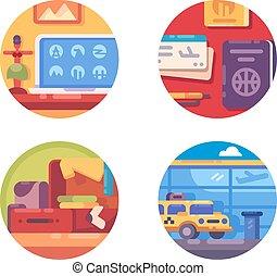 voyage, concept, ensemble, icône