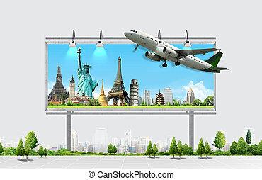 voyage, concept, panneau affichage