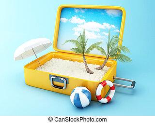 voyage, concept, plage, suitcase., vacances